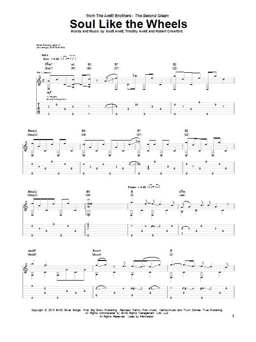 Tablature guitare Soul Like The Wheels de The Avett Brothers - Tablature Guitare