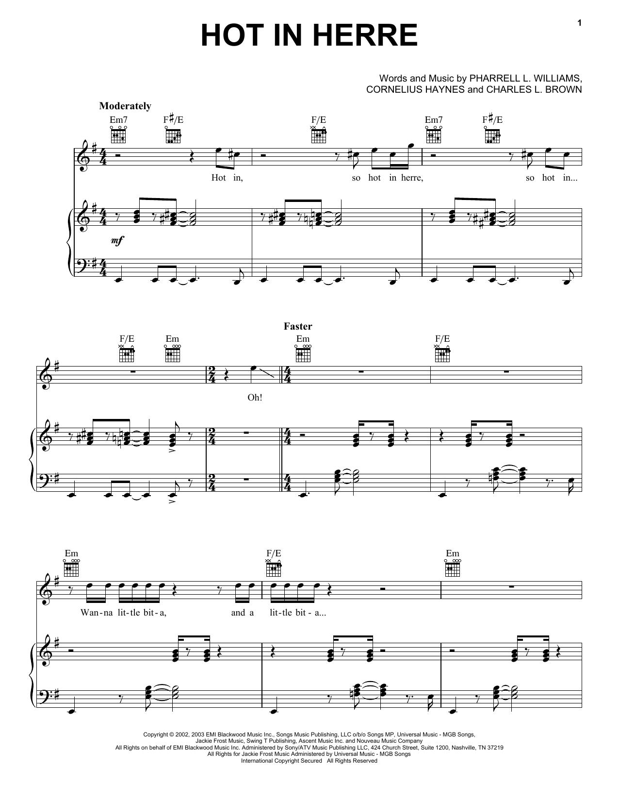 Partition piano Hot In Herre de Nelly - Piano Voix Guitare (Mélodie Main Droite)