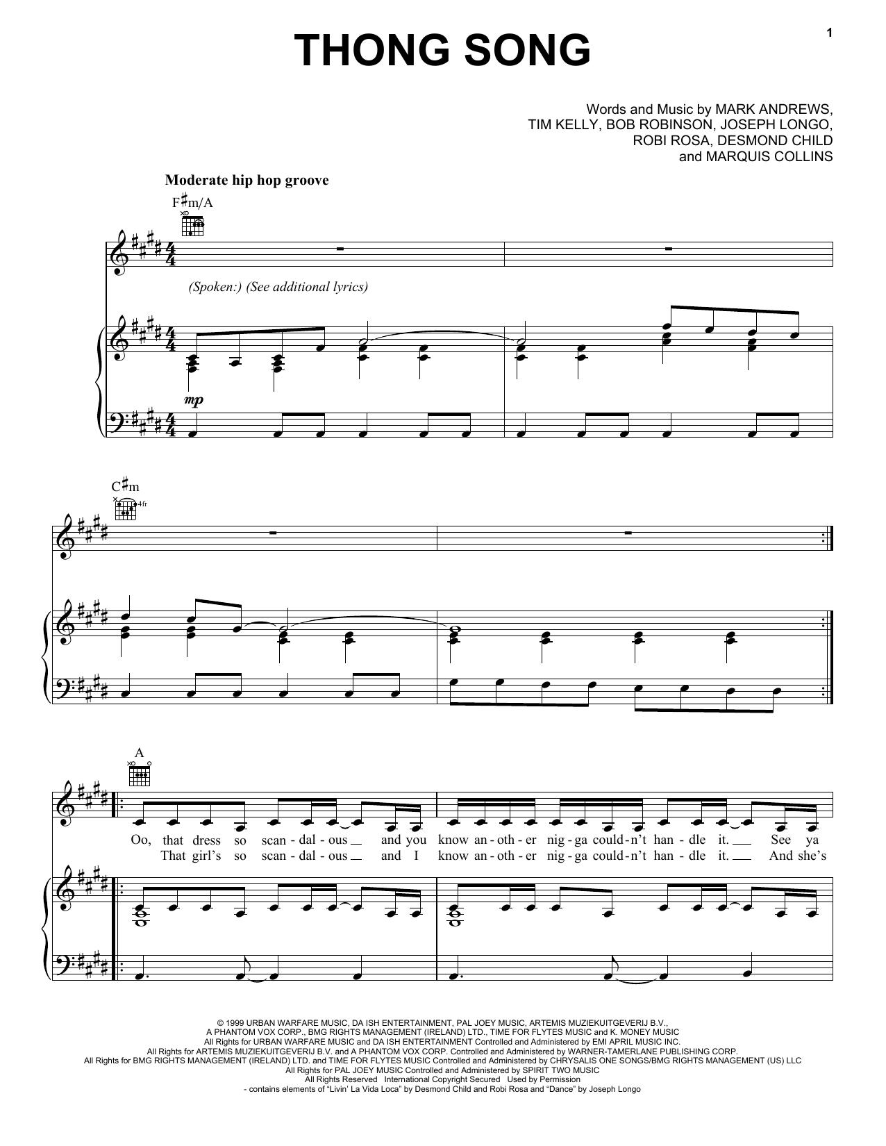 Partition piano Thong Song de Sisqo - Piano Voix Guitare (Mélodie Main Droite)