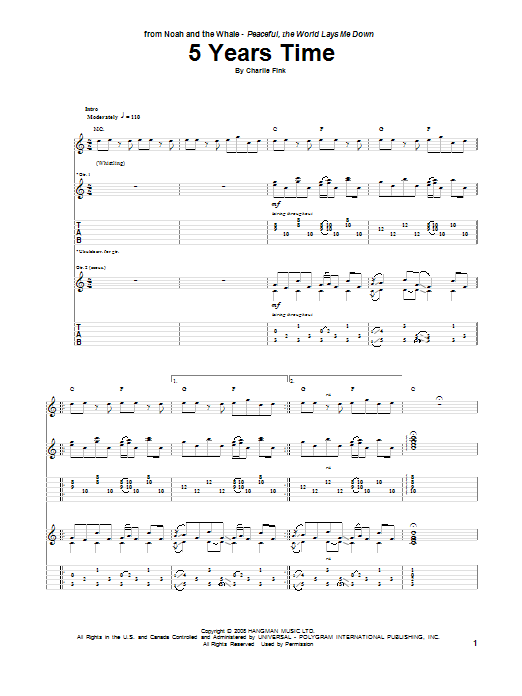 Tablature guitare 5 Years Time de Noah And The Whale - Tablature Guitare