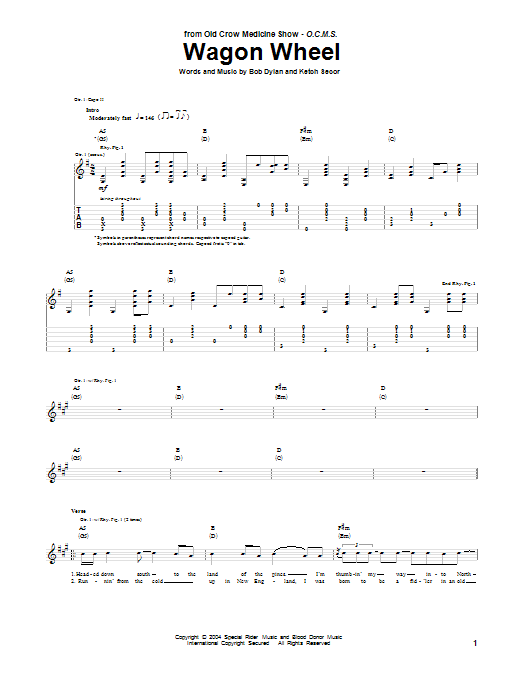 Tablature guitare Wagon Wheel de Old Crow Medicine Show - Tablature Guitare
