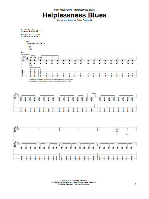 Tablature guitare Helplessness Blues de Fleet Foxes - Tablature Guitare