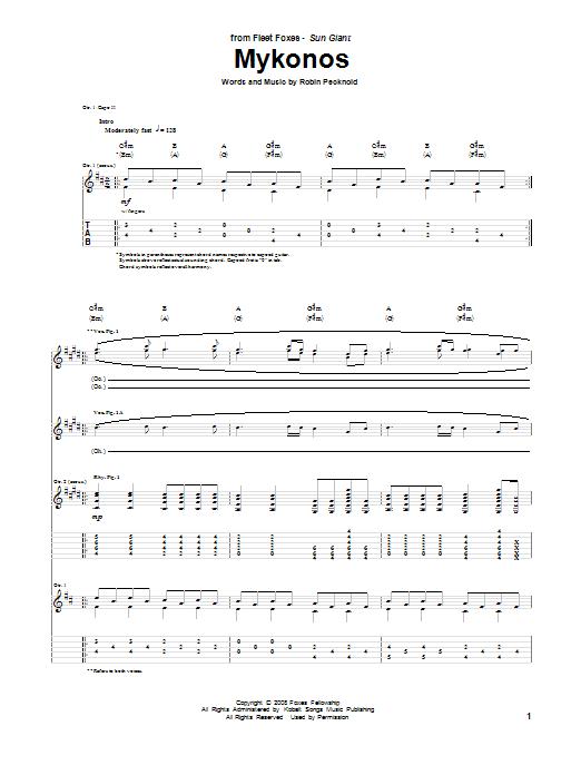 Tablature guitare Mykonos de Fleet Foxes - Tablature Guitare