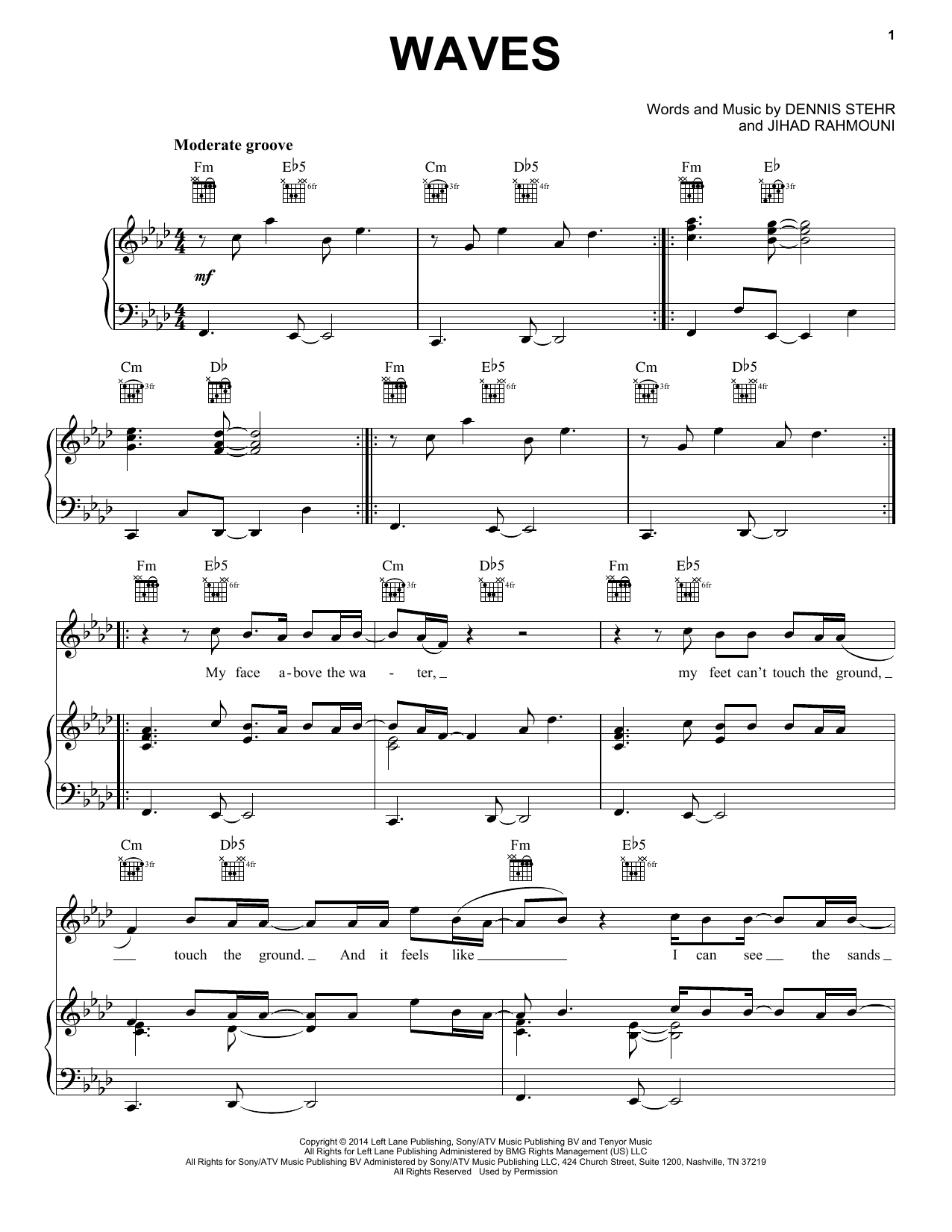 Waves Sheet Music By Mr Probz Piano Vocal Amp Guitar