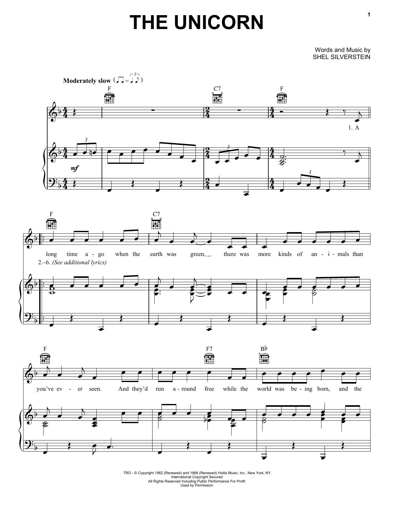 Partition piano The Unicorn de Irish Rovers - Piano Voix Guitare (Mélodie Main Droite)