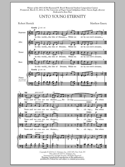 Partition chorale Unto Young Eternity de  - SATB