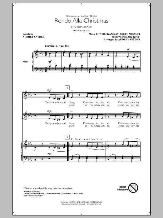 Partition chorale Rondo Alla Turca de Wolfgang Amadeus Mozart - 2 voix