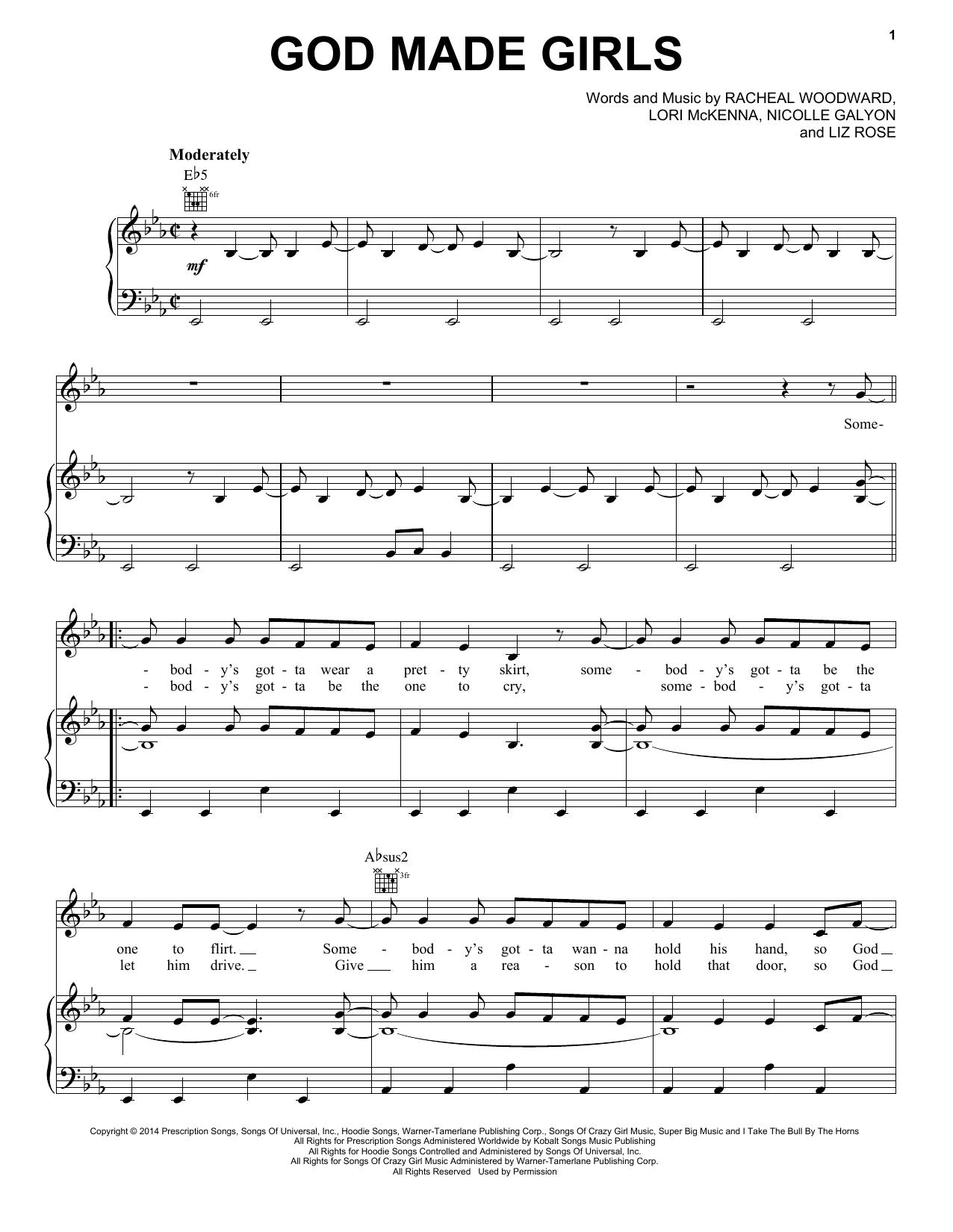 Partition piano God Made Girls de RaeLynn - Piano Voix Guitare (Mélodie Main Droite)