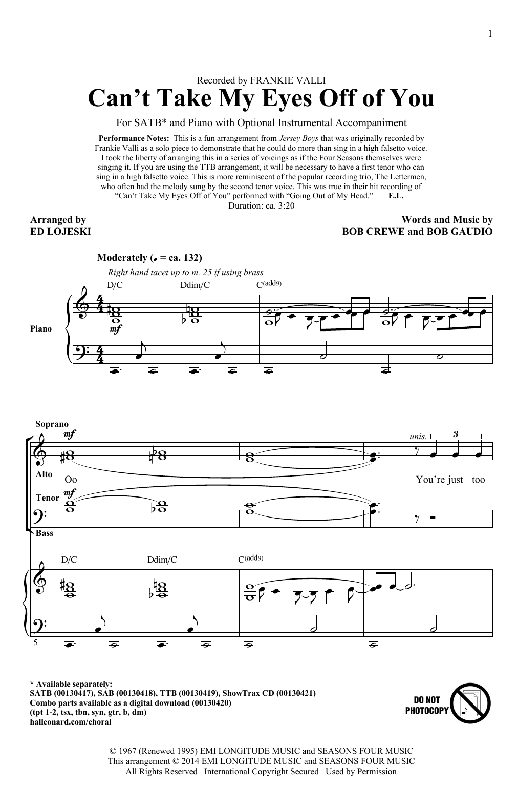 Partition chorale Can't Take My Eyes Off Of You de Frankie Valli - SATB