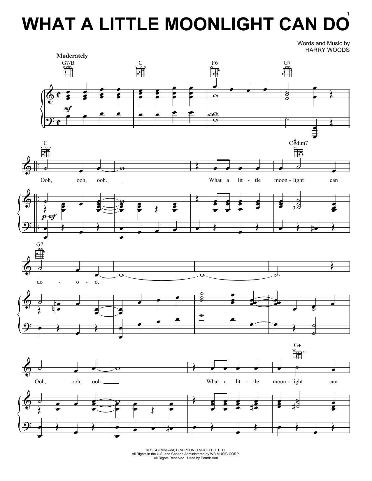 Partition piano What A Little Moonlight Can Do de Harry Woods - Piano Voix Guitare (Mélodie Main Droite)