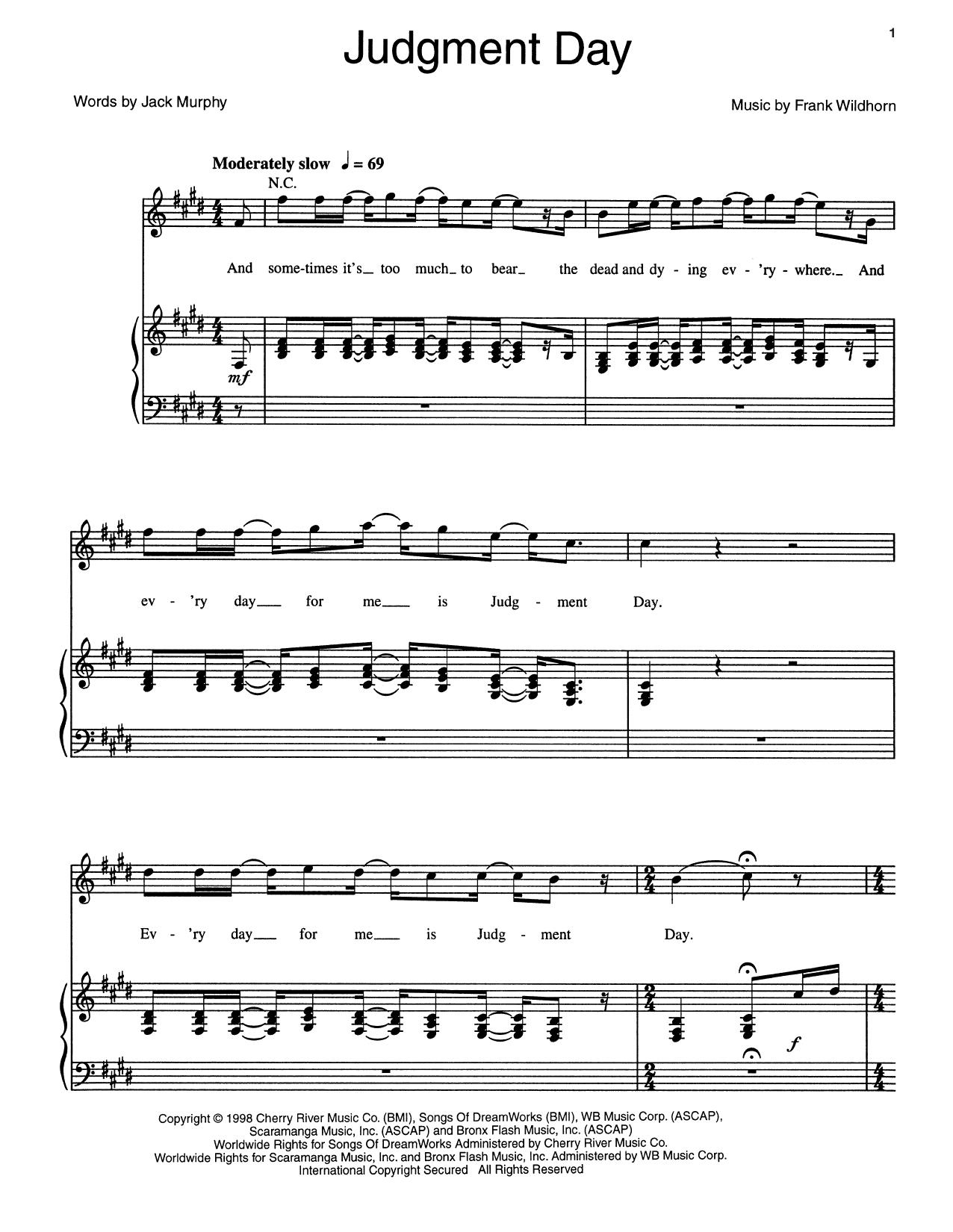 Partition piano Judgment Day de Frank Wildhorn - Piano Voix Guitare (Mélodie Main Droite)