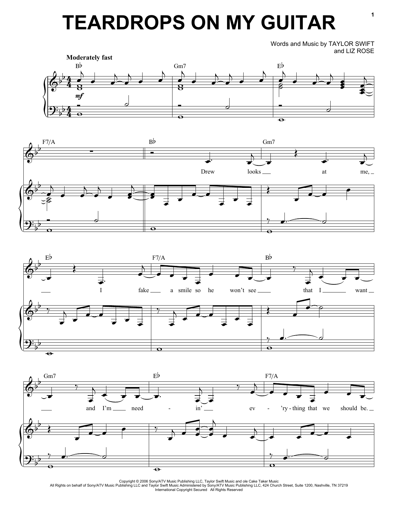 Partition piano Teardrops On My Guitar de Taylor Swift - Piano Voix