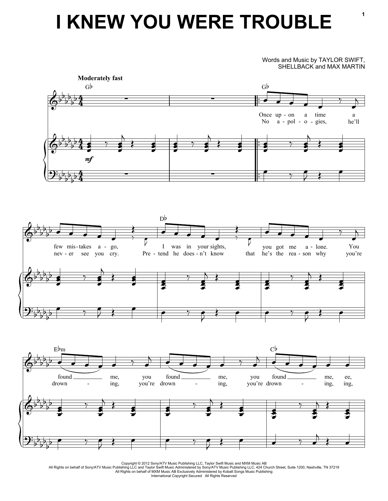 Partition piano I Knew You Were Trouble de Taylor Swift - Piano Voix