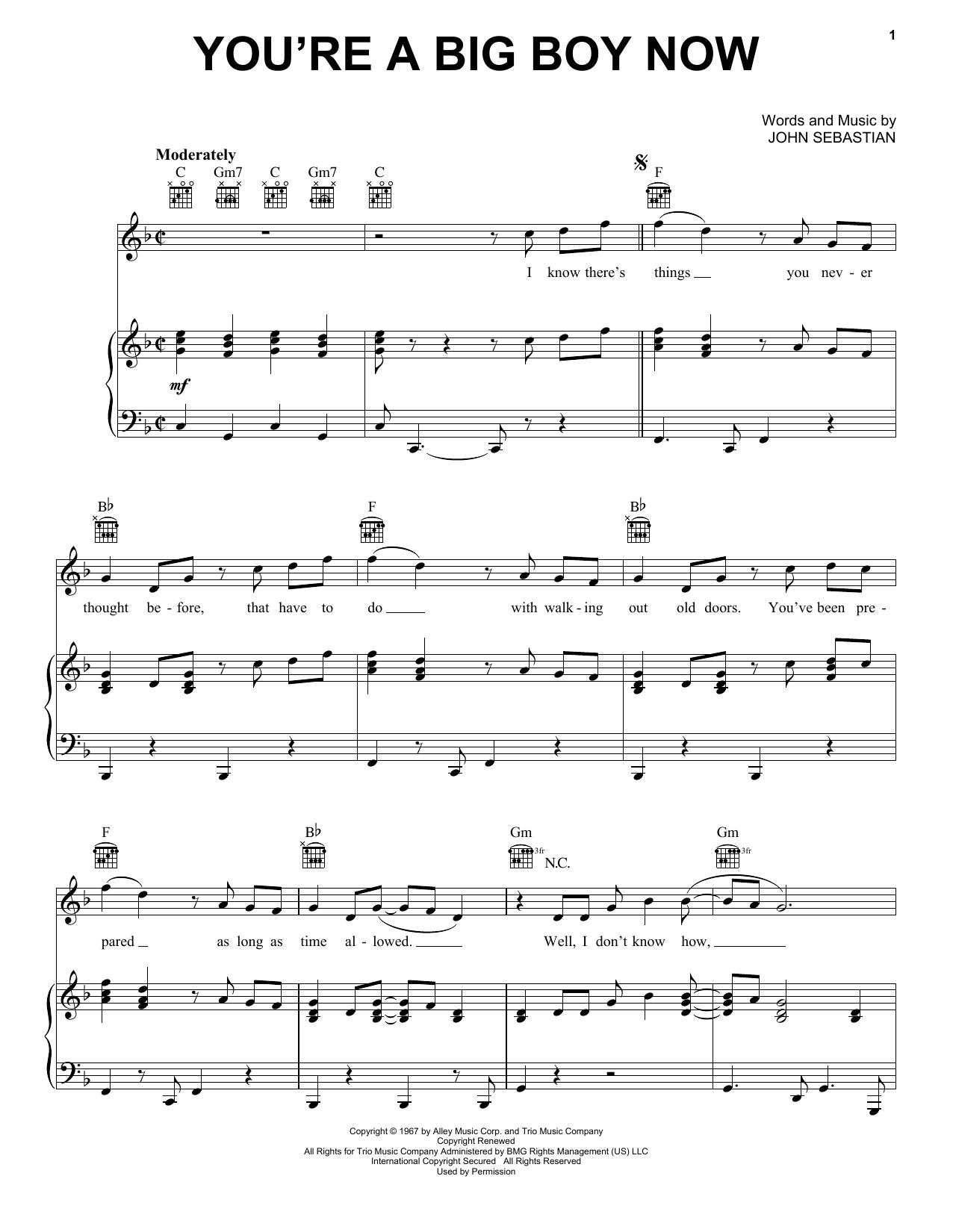 Partition piano You're A Big Boy Now de The Lovin' Spoonful - Piano Voix Guitare (Mélodie Main Droite)