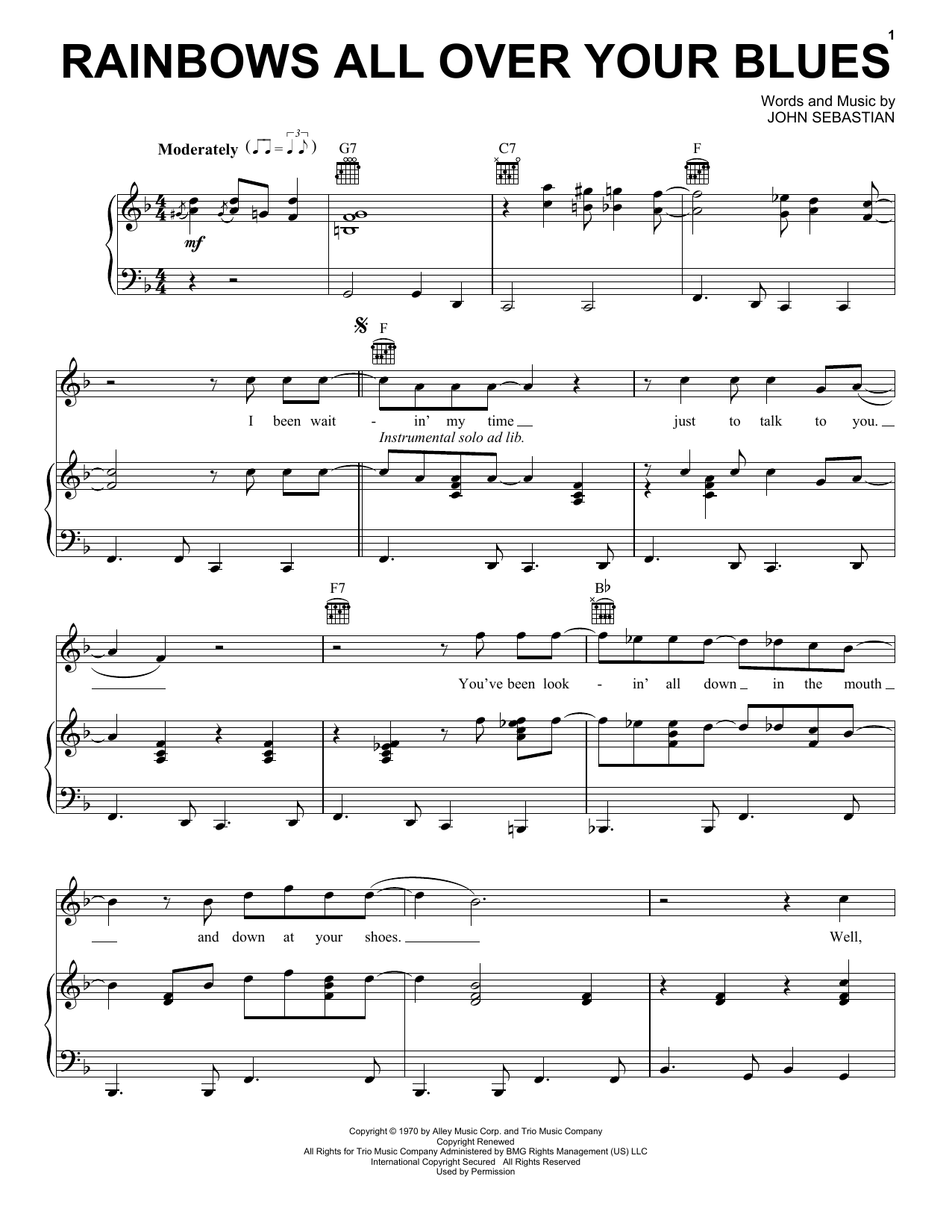 Partition piano Rainbows All Over Your Blues de The Lovin' Spoonful - Piano Voix Guitare (Mélodie Main Droite)