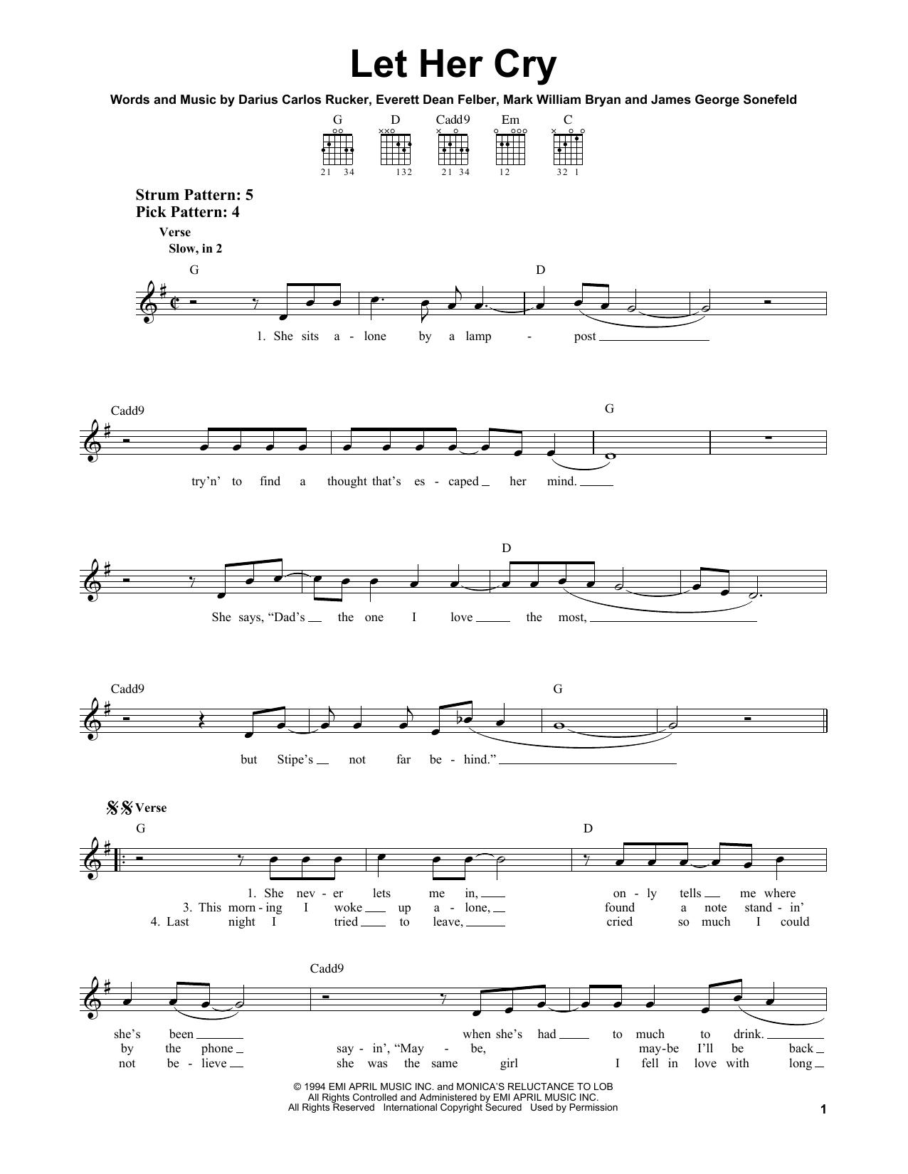 Tablature guitare Let Her Cry de Hootie & The Blowfish - Tablature guitare facile