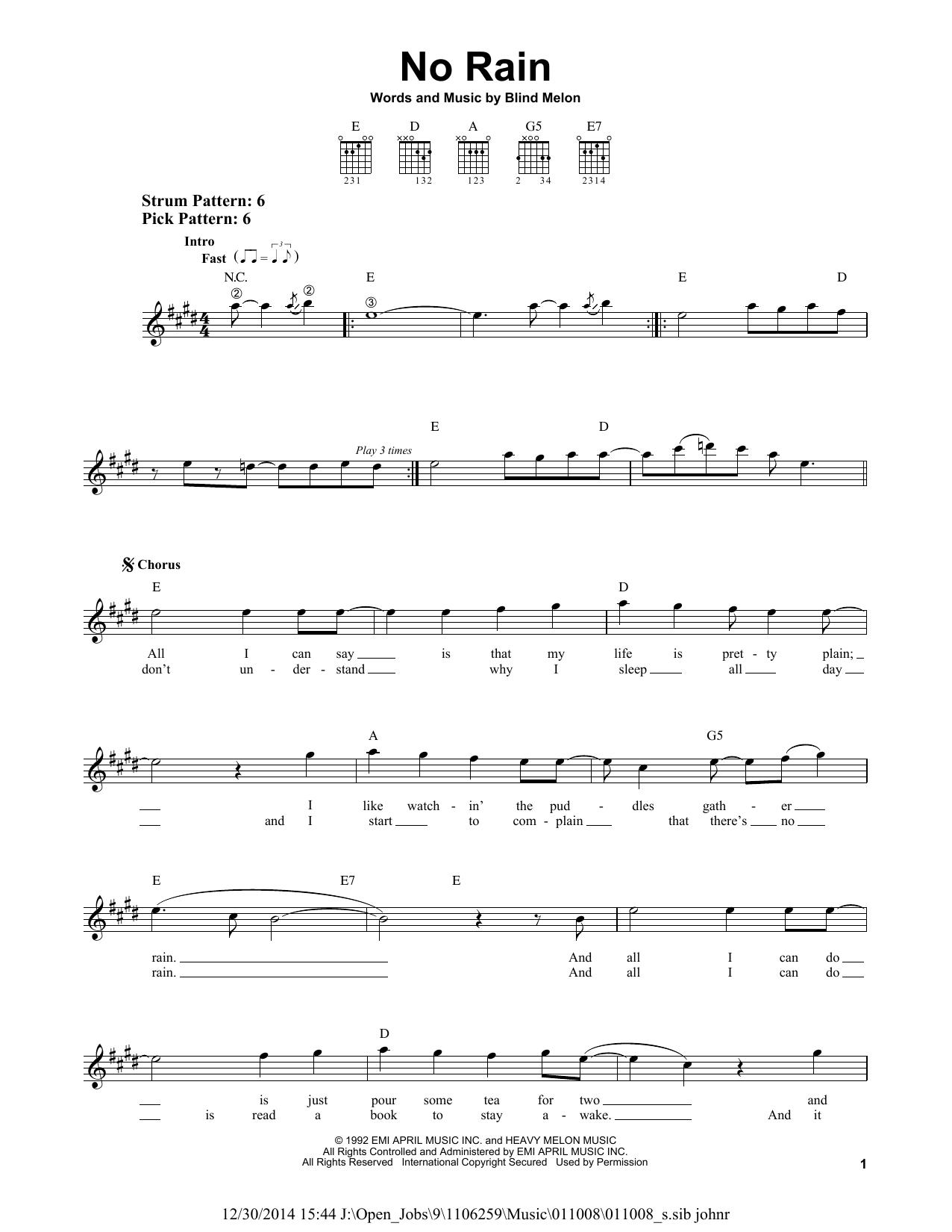 Tablature guitare No Rain de Blind Melon - Tablature guitare facile