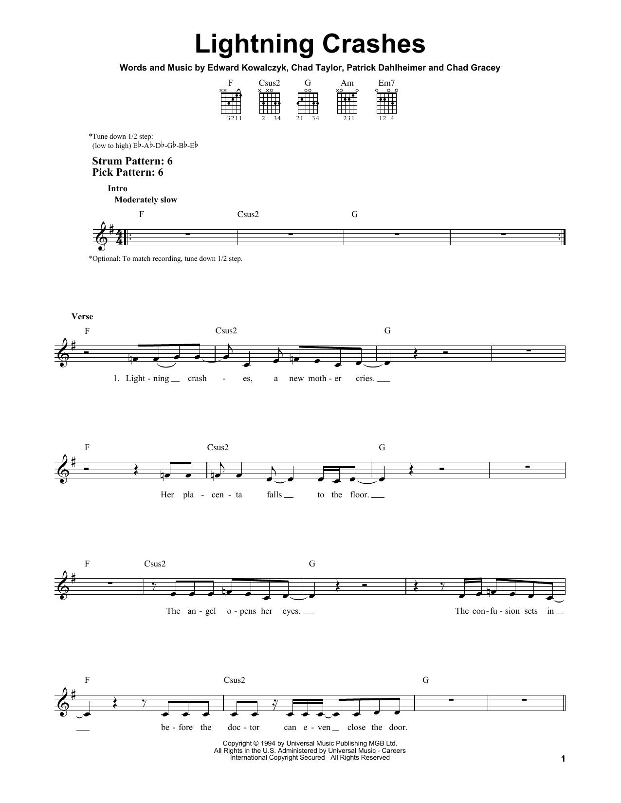 Tablature guitare Lightning Crashes de Live - Tablature guitare facile