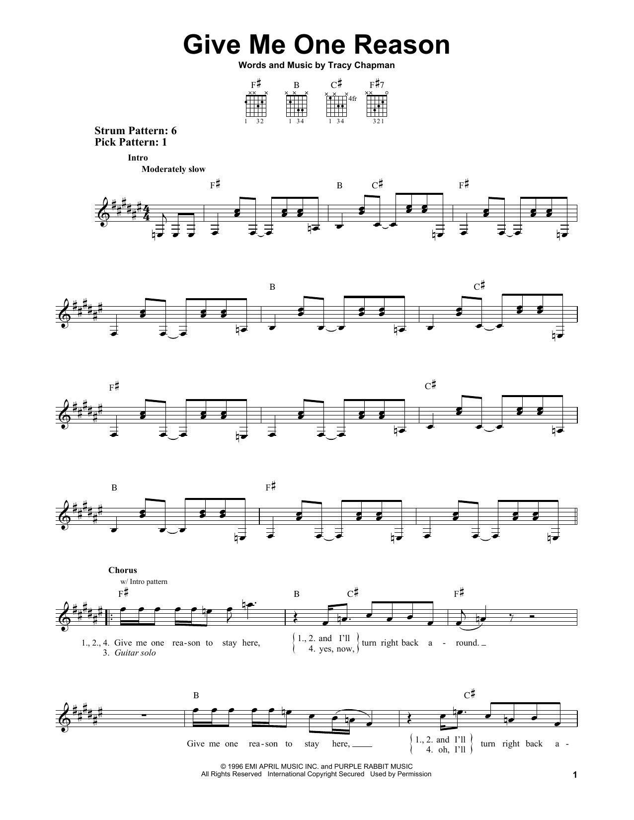 Tablature guitare Give Me One Reason de Tracy Chapman - Tablature guitare facile