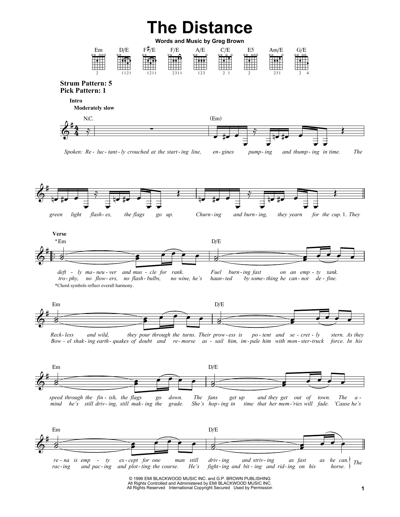 Tablature guitare The Distance de Cake - Tablature guitare facile