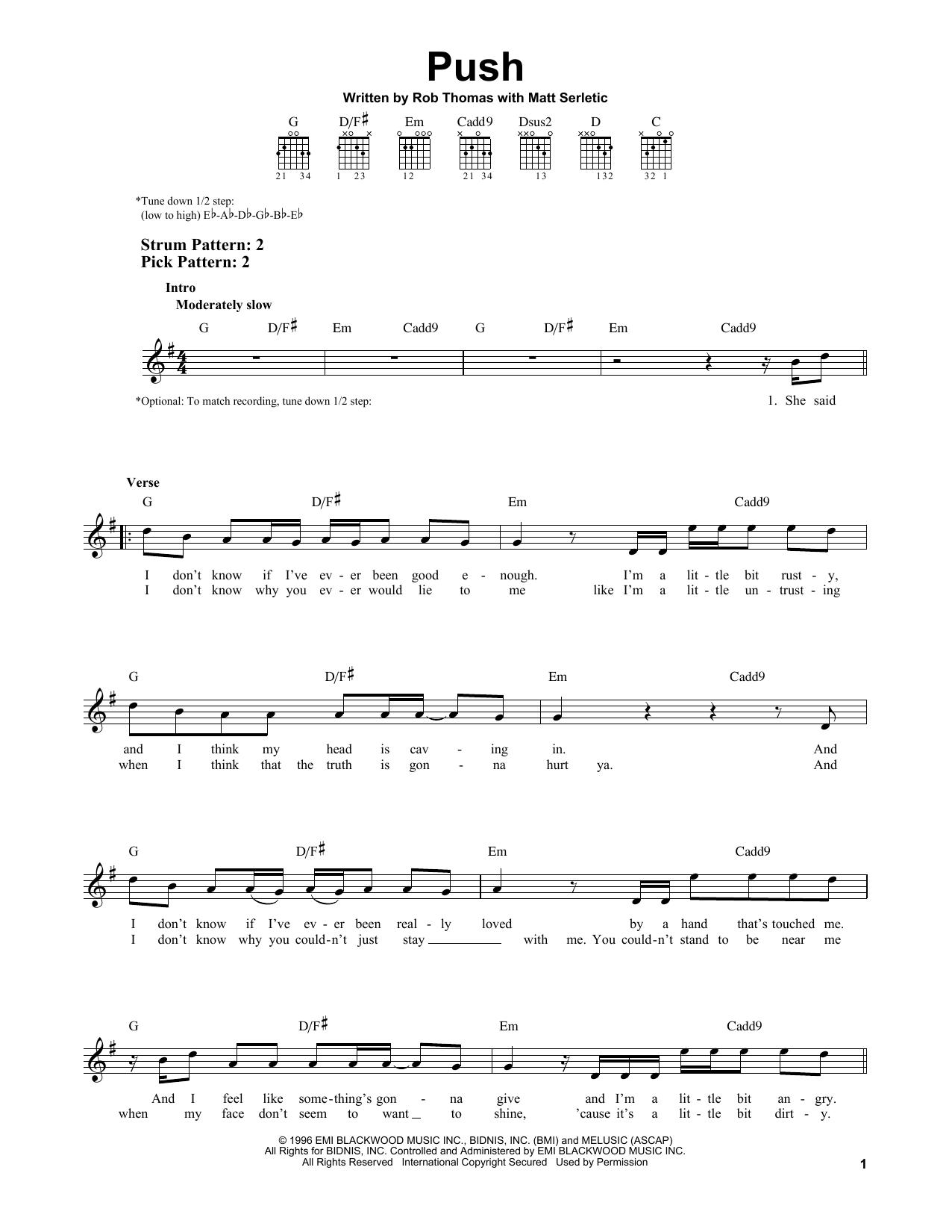 Tablature guitare Push de Matchbox Twenty - Tablature guitare facile
