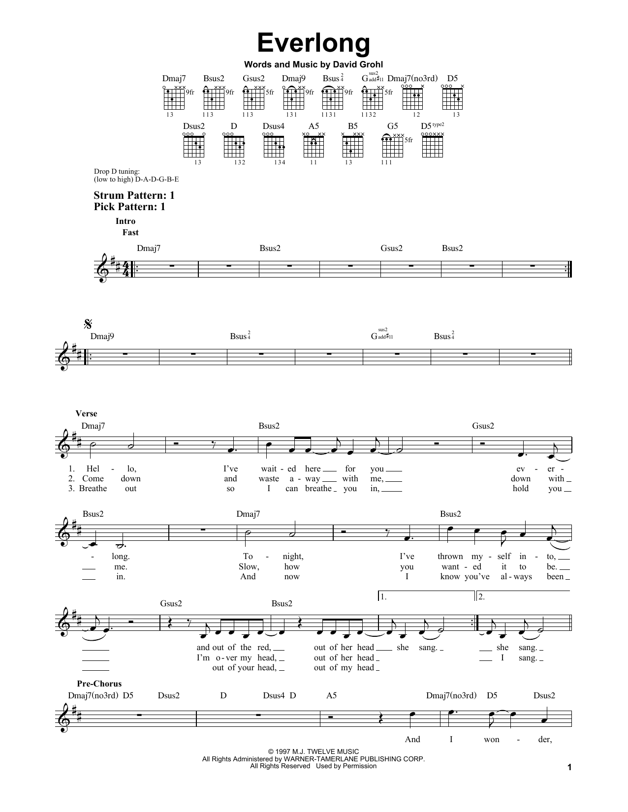 Tablature guitare Everlong de Foo Fighters - Tablature guitare facile