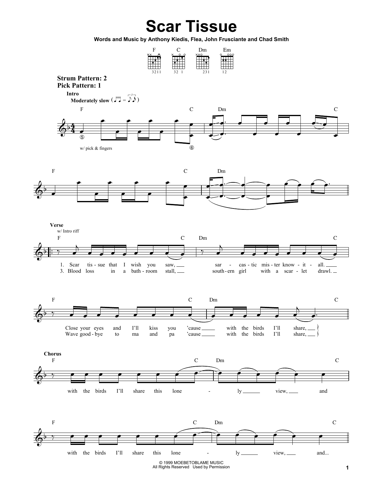 Tablature guitare Scar Tissue de Red Hot Chili Peppers - Tablature guitare facile