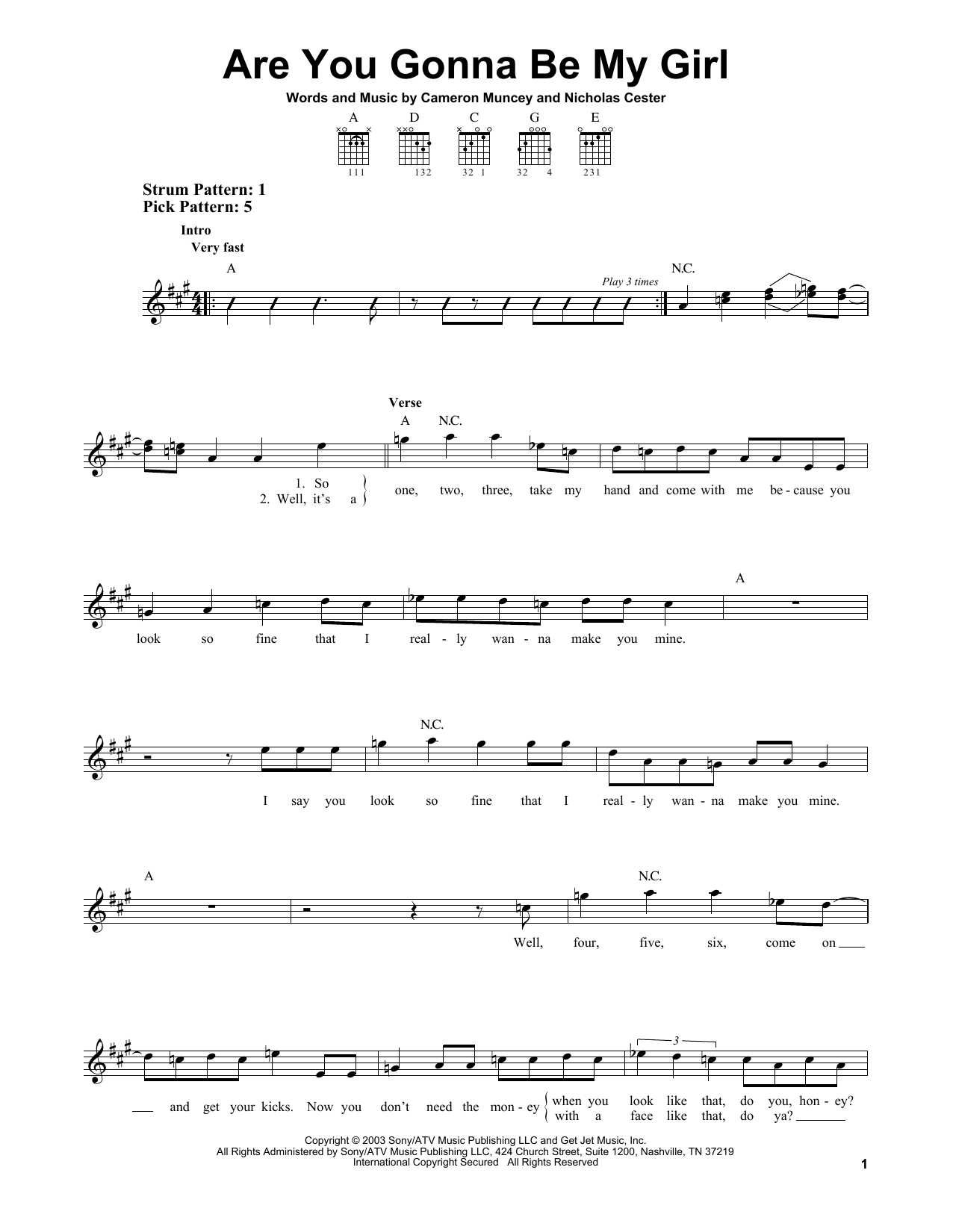 Tablature guitare Are You Gonna Be My Girl de Jet - Tablature guitare facile