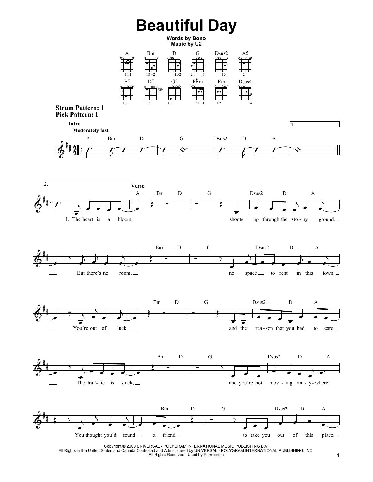 Tablature guitare Beautiful Day de U2 - Tablature guitare facile