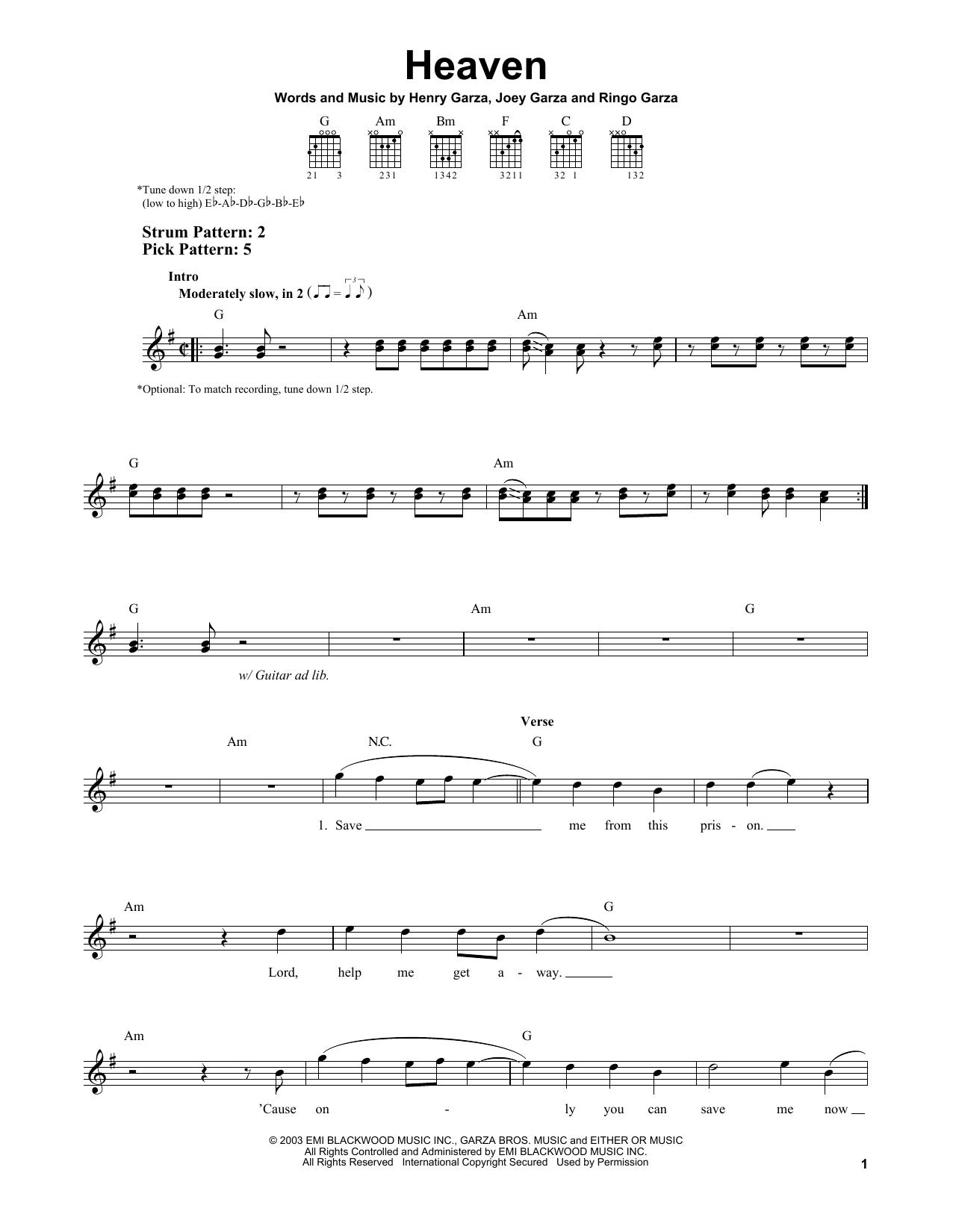 Tablature guitare Heaven de Los Lonely Boys - Tablature guitare facile