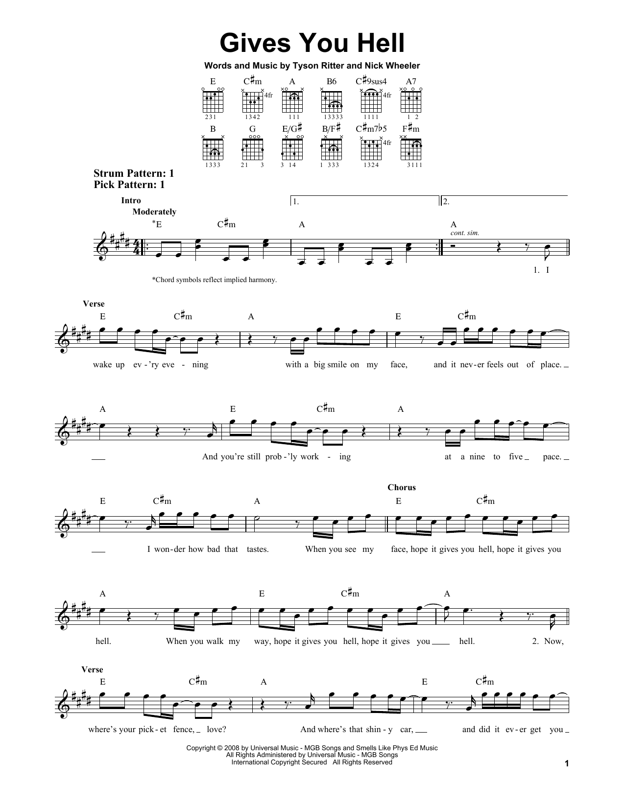 Tablature guitare Gives You Hell de The All-American Rejects - Tablature guitare facile
