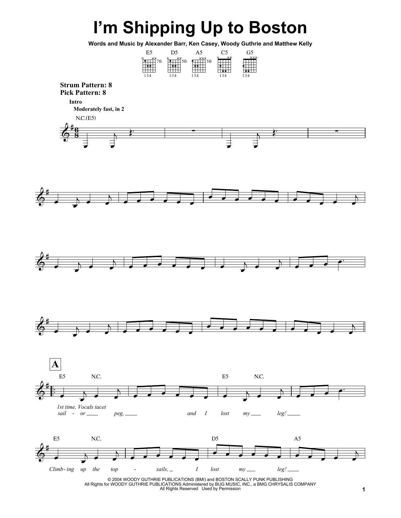 Tablature guitare I'm Shipping Up To Boston de Dropkick Murphys - Tablature guitare facile