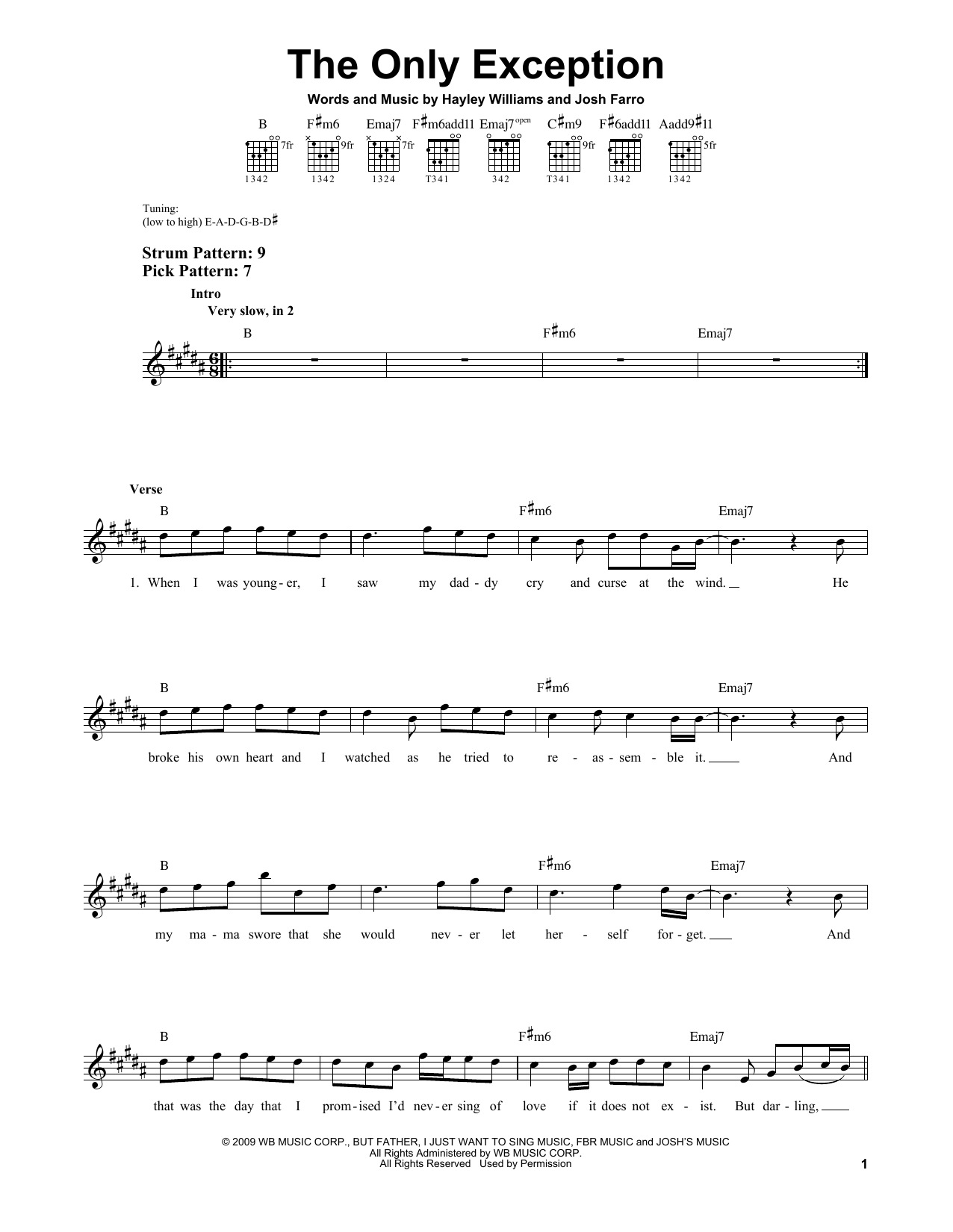 Tablature guitare The Only Exception de Paramore - Tablature guitare facile