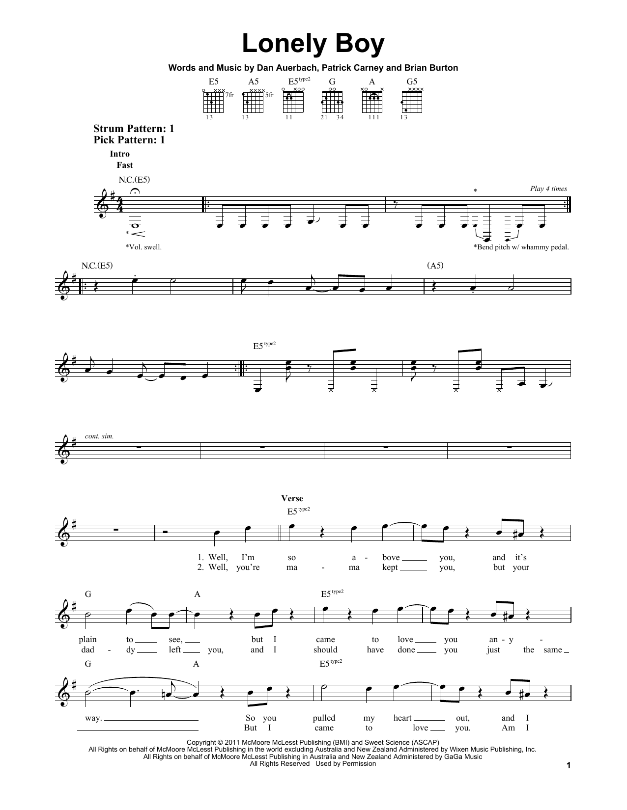 Tablature guitare Lonely Boy de The Black Keys - Tablature guitare facile