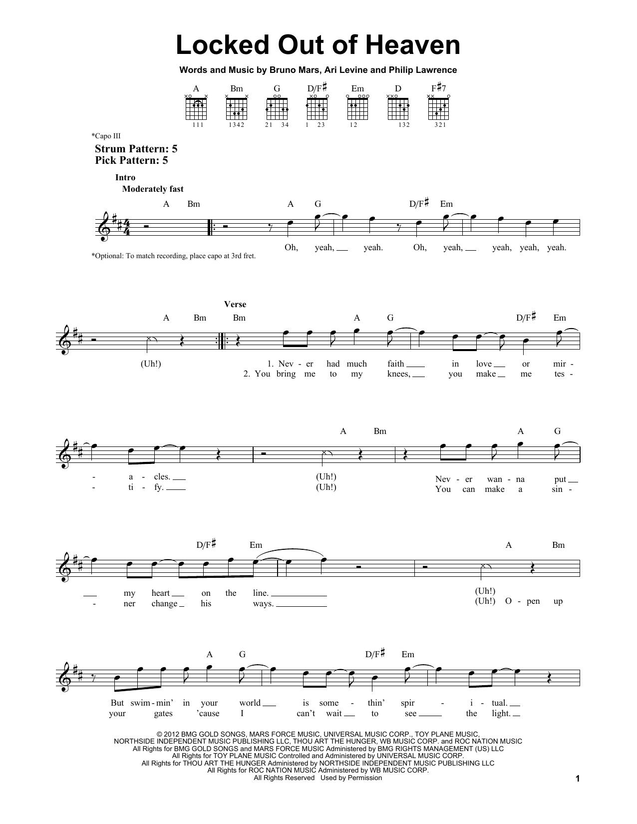 Tablature guitare Locked Out Of Heaven de Bruno Mars - Tablature guitare facile