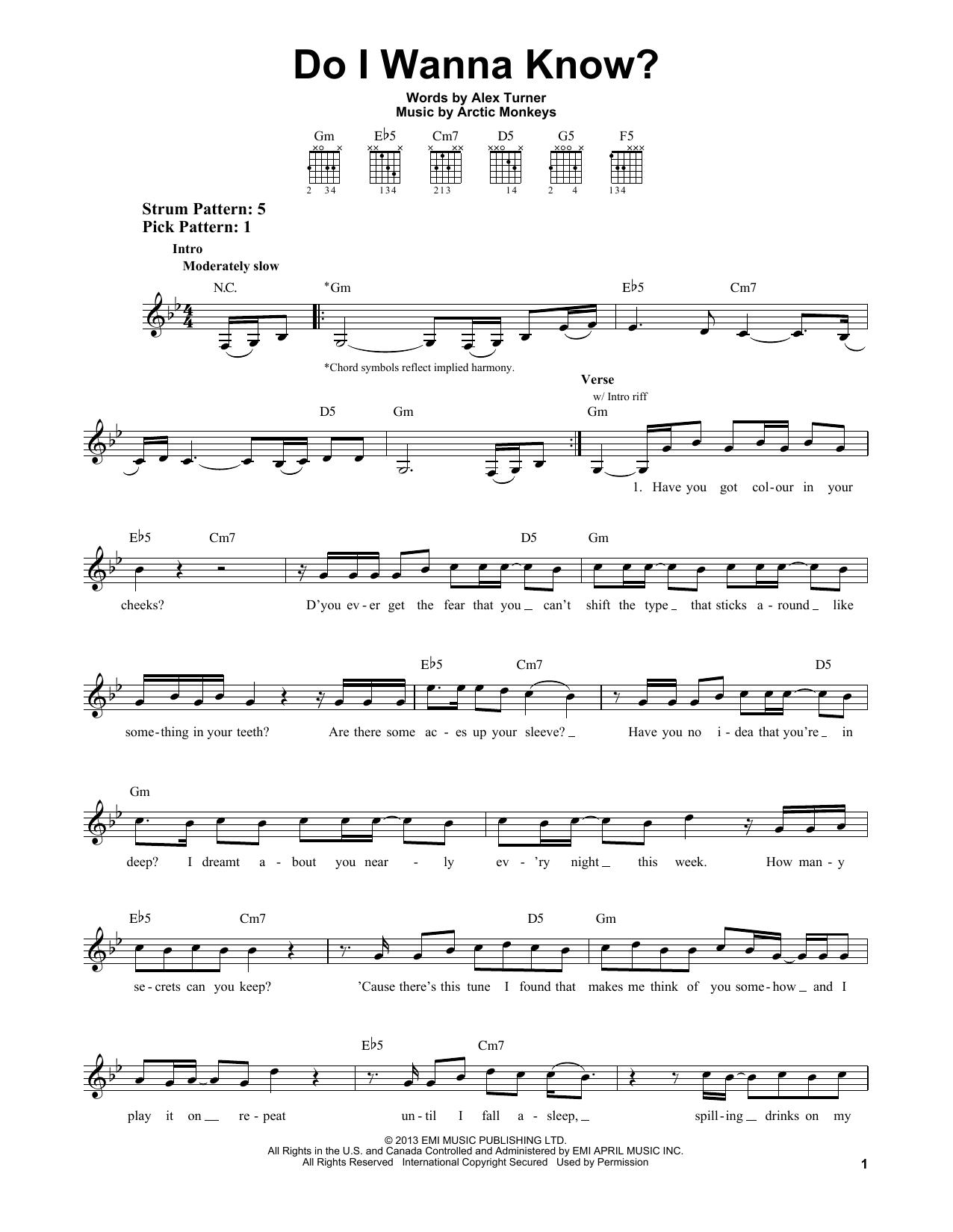 Tablature guitare Do I Wanna Know? de Arctic Monkeys - Tablature guitare facile
