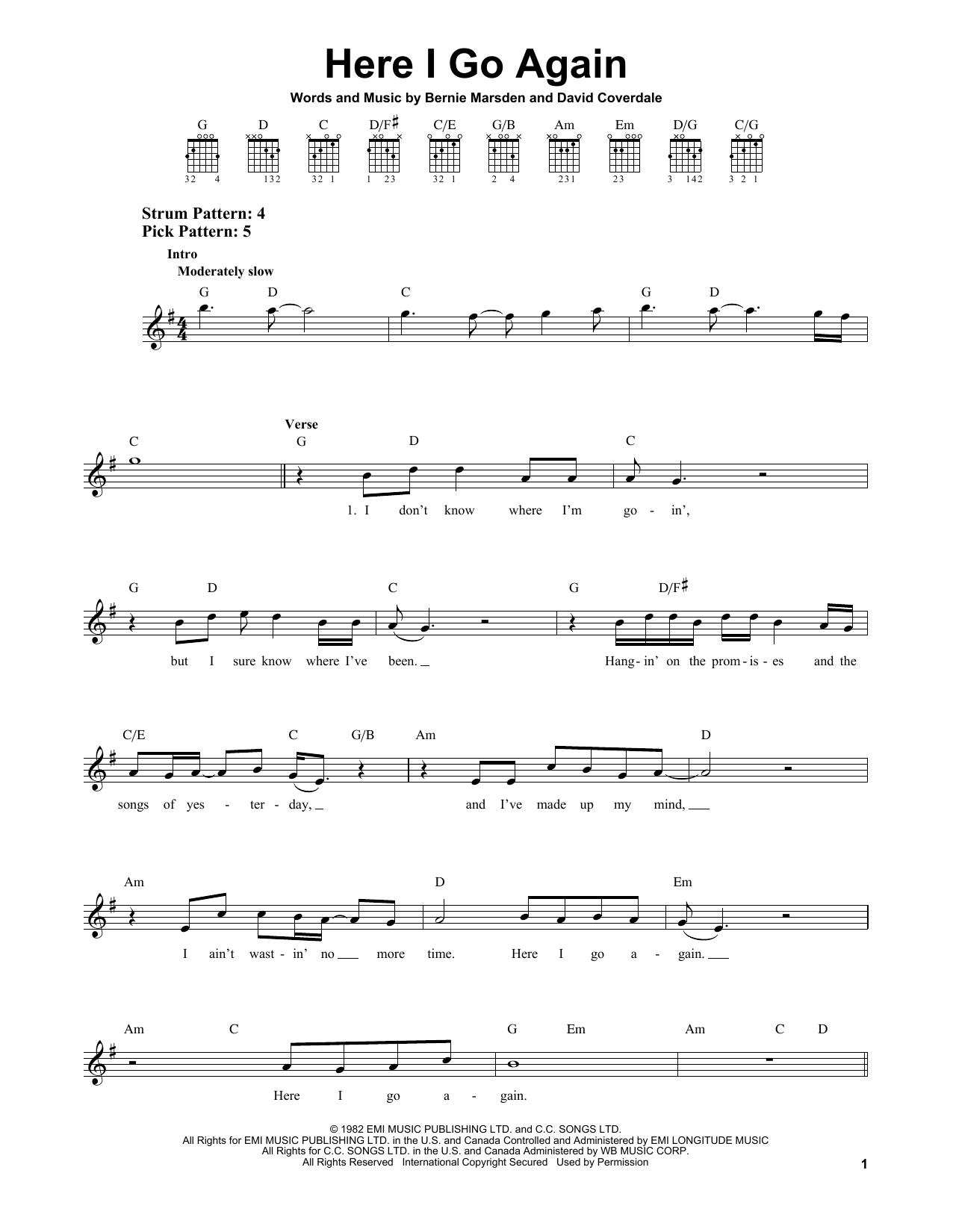 Tablature guitare Here I Go Again de Whitesnake - Tablature guitare facile