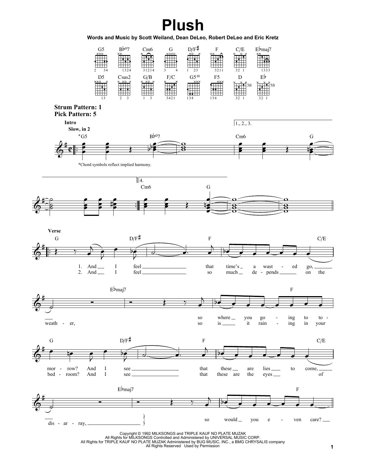 Tablature guitare Plush de Stone Temple Pilots - Tablature guitare facile