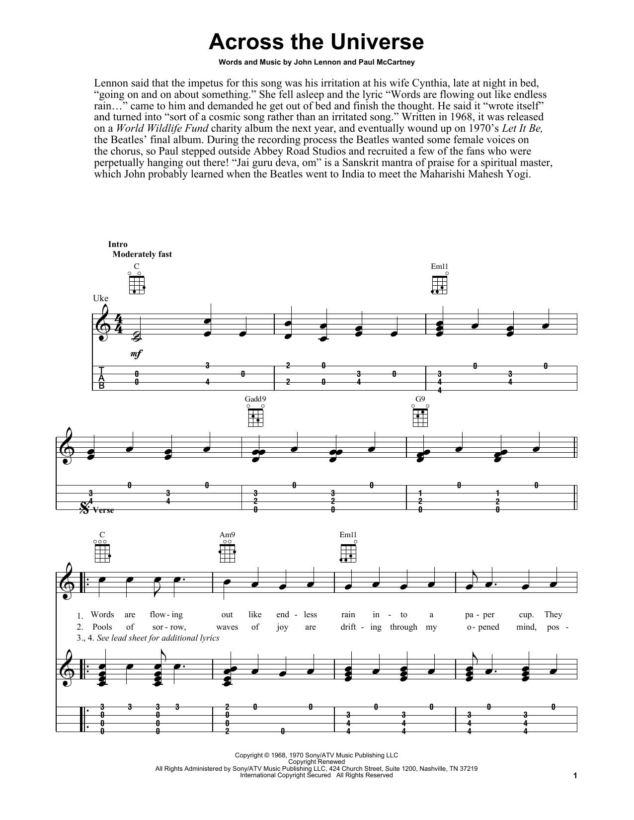 Tablature guitare Across The Universe de The Beatles - Ukulele