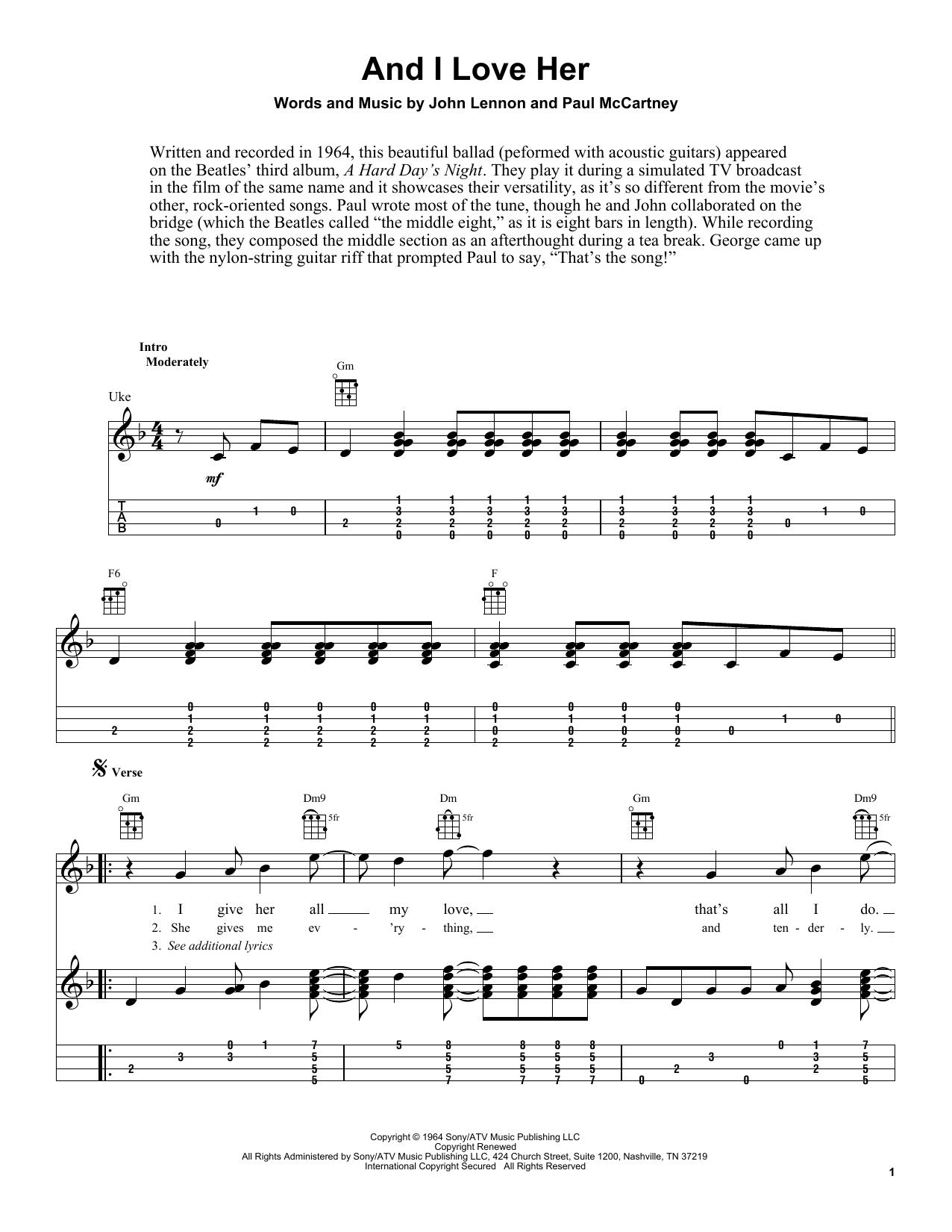 Tablature guitare And I Love Her de The Beatles - Ukulele