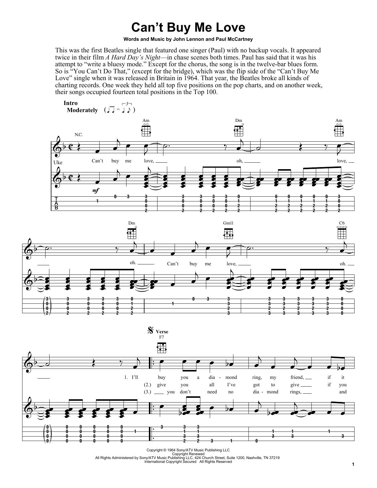 Tablature guitare Can't Buy Me Love de The Beatles - Ukulele