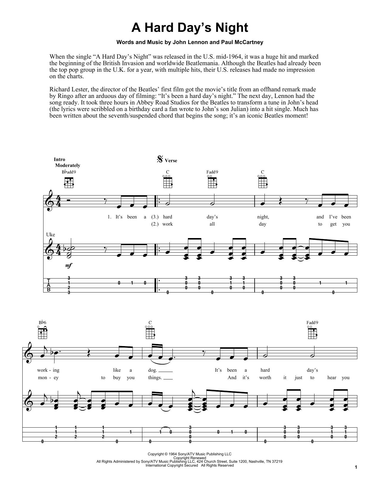 Tablature guitare A Hard Day's Night de The Beatles - Ukulele