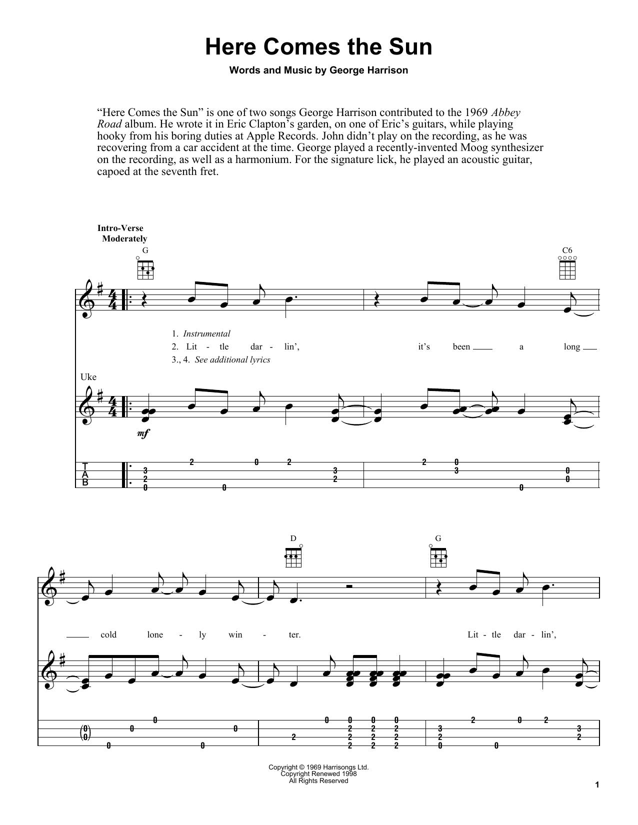 Tablature guitare Here Comes The Sun de The Beatles - Ukulele
