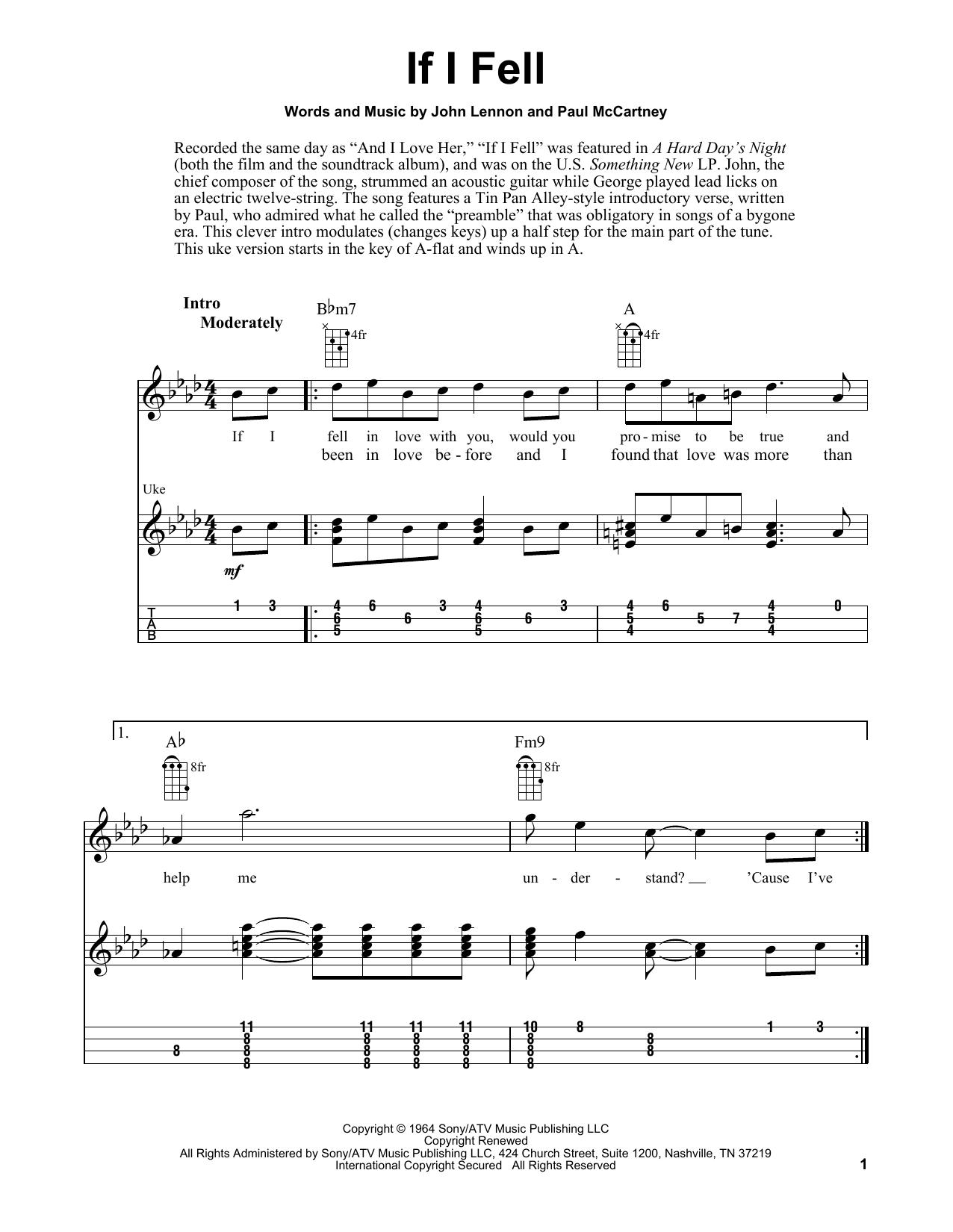 Tablature guitare If I Fell de The Beatles - Ukulele