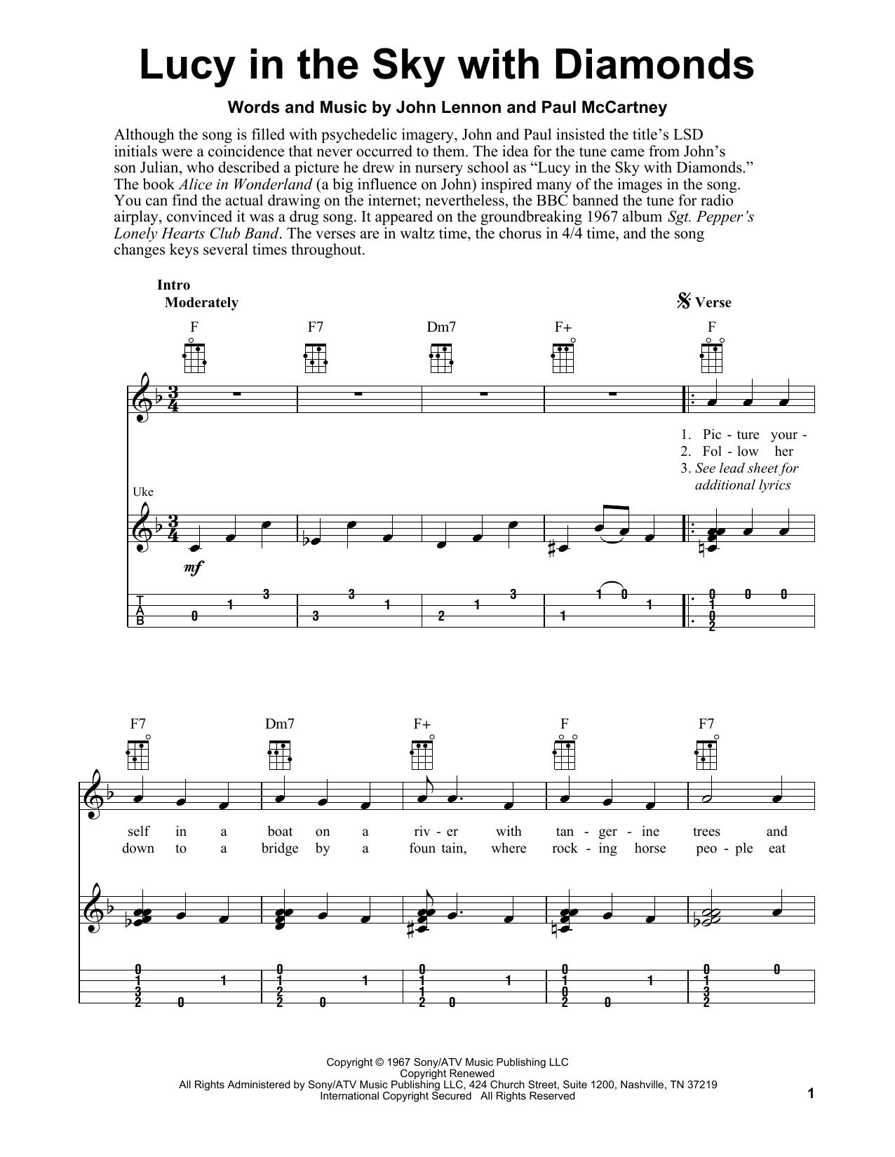 Tablature guitare Lucy In The Sky With Diamonds de The Beatles - Ukulele