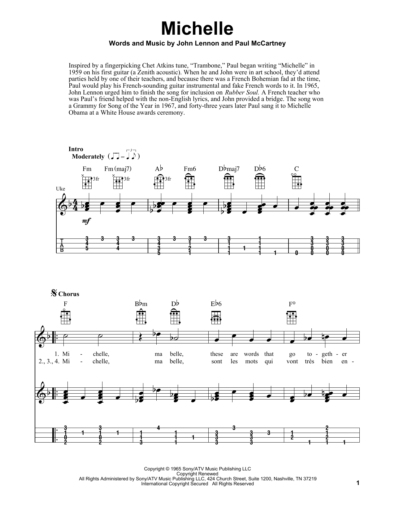 Tablature guitare Michelle de The Beatles - Ukulele