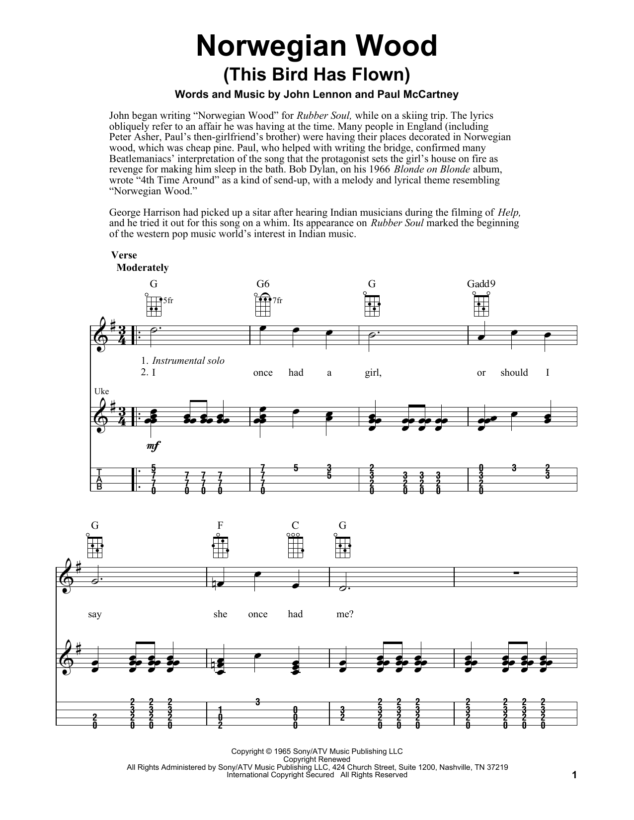 Tablature guitare Norwegian Wood (This Bird Has Flown) de The Beatles - Ukulele