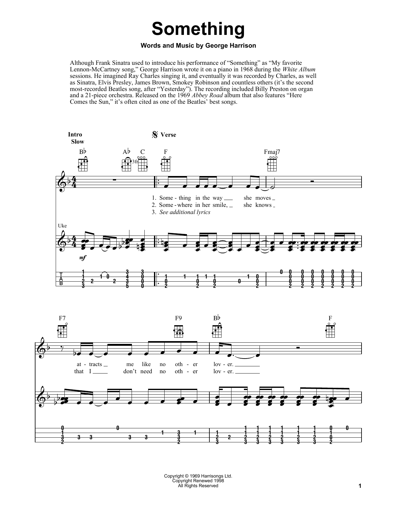 Tablature guitare Something de The Beatles - Ukulele