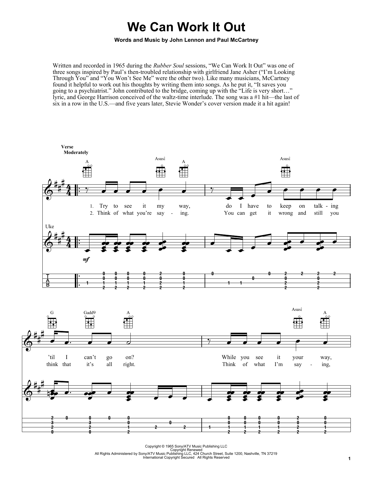 Tablature guitare We Can Work It Out de The Beatles - Ukulele