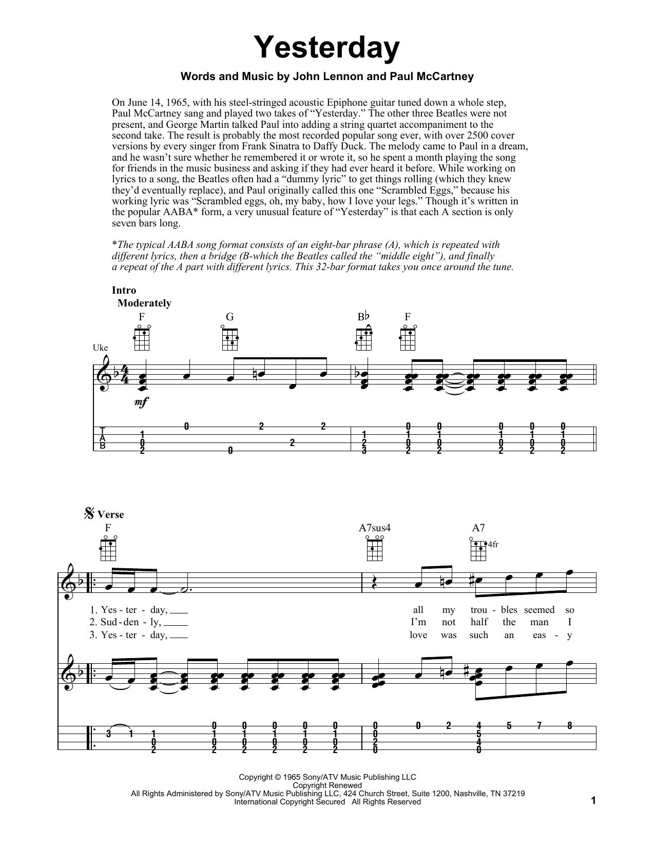 Tablature guitare Yesterday de The Beatles - Ukulele